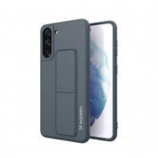 Wozinsky Kickstand Lankstaus Silikono Dėklas Su Stovu Samsung Galaxy S21+ 5G (S21 Plus 5G) Tamsiai Mėlynas