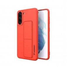 Wozinsky Kickstand Lankstaus Silikono Dėklas Su Stovu Samsung Galaxy S21+ 5G (S21 Plus 5G) Raudonas