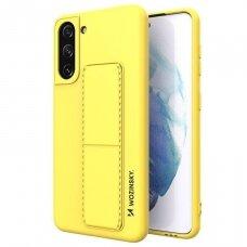 Wozinsky Kickstand Lankstaus Silikono Dėklas Su Stovu Samsung Galaxy S21+ 5G (S21 Plus 5G) Geltonas