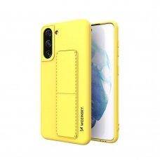 Wozinsky Kickstand Lankstaus Silikono Dėklas Su Stovu Samsung Galaxy S21 5G Geltonas