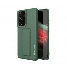 Wozinsky Kickstand Lankstaus Silikono Dėklas Su Stovu Samsung Galaxy S21 Ultra 5G Tamsiai Žalias