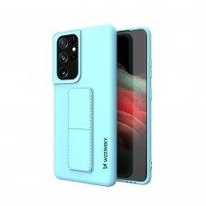 Wozinsky Kickstand Lankstaus Silikono Dėklas Su Stovu Samsung Galaxy S21 Ultra 5G Šviesiai Mėlynas