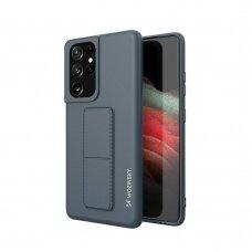 Wozinsky Kickstand Lankstaus Silikono Dėklas Su Stovu Samsung Galaxy S21 Ultra 5G Mėlynas