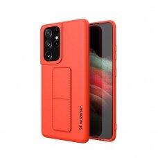 Wozinsky Kickstand Lankstaus Silikono Dėklas Su Stovu Samsung Galaxy S21 Ultra 5G Raudonas