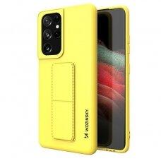 Wozinsky Kickstand Lankstaus Silikono Dėklas Su Stovu Samsung Galaxy S21 Ultra 5G Geltonas