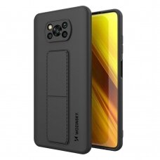 Wozinsky Kickstand Lankstaus Silikono Dėklas Su Stovu Xiaomi Poco X3 NFC / Poco X3 Pro Juodas