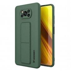 Wozinsky Kickstand Lankstaus Silikono Dėklas Su Stovu Xiaomi Poco X3 NFC / Poco X3 Pro Tamsiai Žalias