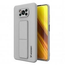 Wozinsky Kickstand Lankstaus Silikono Dėklas Su Stovu Xiaomi Poco X3 NFC / Poco X3 Pro Pilkas