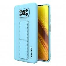 Wozinsky Kickstand Lankstaus Silikono Dėklas Su Stovu Xiaomi Poco X3 NFC / Poco X3 Pro Šviesiai Mėlynas