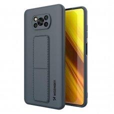 Wozinsky Kickstand Lankstaus Silikono Dėklas Su Stovu Xiaomi Poco X3 NFC / Poco X3 Pro Mėlynas