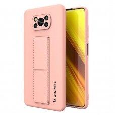 Wozinsky Kickstand Lankstaus Silikono Dėklas Su Stovu Xiaomi Poco X3 NFC / Poco X3 Pro Rožinis