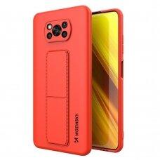 Wozinsky Kickstand Lankstaus Silikono Dėklas Su Stovu Xiaomi Poco X3 NFC / Poco X3 Pro Raudonas