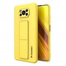 Wozinsky Kickstand Lankstaus Silikono Dėklas Su Stovu Xiaomi Poco X3 NFC / Poco X3 Pro Geltonas