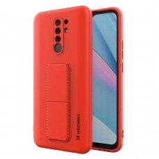 Wozinsky Kickstand Lankstaus Silikono Dėklas Su Stovu Xiaomi Redmi 9 Raudonas