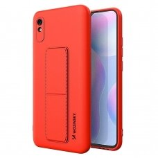 Wozinsky Kickstand Lankstaus Silikono Dėklas Su Stovu Xiaomi Redmi 9A Raudonas