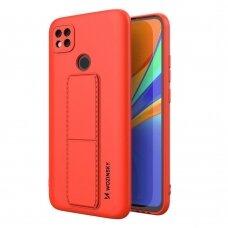 Wozinsky Kickstand Lankstaus Silikonos Dėklas Su Stovu Xiaomi Redmi 9C Raudonas