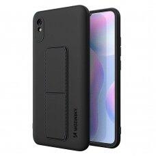 Wozinsky Kickstand Lankstaus Silikono Dėklas Su Stovu Xiaomi Redmi Note 9 Pro / Redmi Note 9S Juodas