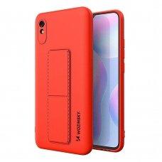 Wozinsky Kickstand Lankstaus Silikono Dėklas Su Stovu Xiaomi Redmi Note 9 Pro / Redmi Note 9S Raudonas