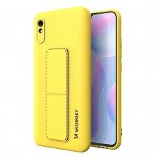 Wozinsky Kickstand Lankstaus Silikono Dėklas Su Stovu Xiaomi Redmi Note 9 Pro / Redmi Note 9S Geltonas