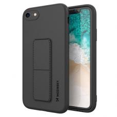 Wozinsky Kickstand Lankstaus Silikono Dėklas Su Stovu iPhone SE 2020 / iPhone 8 / iPhone 7 Juodas