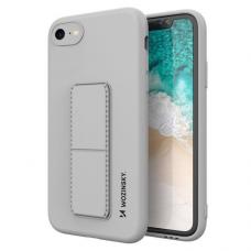 Wozinsky Kickstand Lankstaus Silikono Dėklas Su Stovu iPhone SE 2020 / iPhone 8 / iPhone 7 Pilkas