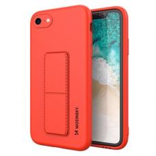 Wozinsky Kickstand Lankstaus Silikono Dėklas Su Stovu iPhone SE 2020 / iPhone 8 / iPhone 7 Raudonas