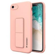Wozinsky Kickstand Lankstaus Silikono Dėklas Su Stovu iPhone SE 2020 / iPhone 8 / iPhone 7 Rožinis