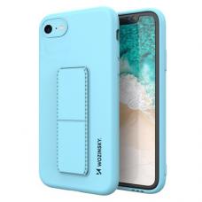 Wozinsky Kickstand Lankstaus Silikono Dėklas Su Stovu iPhone SE 2020 / iPhone 8 / iPhone 7 Šviesiai Mėlynas