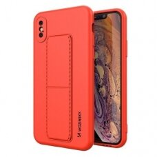 Wozinsky Kickstand Lankstaus Silikono Dėklas Su Stovu iPhone XS Max Raudonas