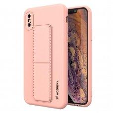 Wozinsky Kickstand Lankstaus Silikono Dėklas Su Stovu iPhone XS Max Rožinis