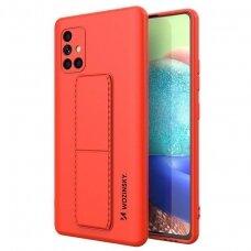 Wozinsky Kickstand Lankstaus Silikono Dėklas Su Stovu Samsung Galaxy A51 5G / Galaxy A51 Raudonas