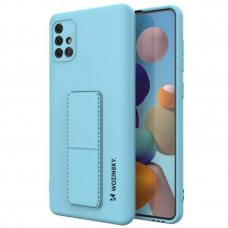 Wozinsky Kickstand Lankstaus Silikono Dėklas Su Stovu Samsung Galaxy A51 5G / Galaxy A51 Šviesiai Mėlynas