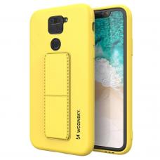Wozinsky Kickstand Lankstaus Silikono Dėklas Su Stovu Xiaomi Redmi 10X 4G / Xiaomi Redmi Note 9 Geltonas