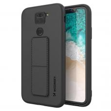 Wozinsky Kickstand Lankstaus Silikono Dėklas Su Stovu Xiaomi Redmi 10X 4G / Xiaomi Redmi Note 9 Juodas
