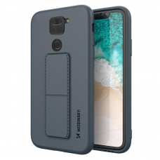 Wozinsky Kickstand Lankstaus Silikono Dėklas Su Stovu Xiaomi Redmi 10X 4G / Xiaomi Redmi Note 9 Mėlynas
