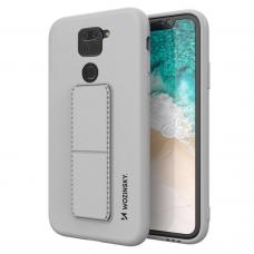 Wozinsky Kickstand Lankstaus Silikono Dėklas Su Stovu Xiaomi Redmi 10X 4G / Xiaomi Redmi Note 9 Pilkas