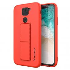 Wozinsky Kickstand Lankstaus Silikono Dėklas Su Stovu Xiaomi Redmi 10X 4G / Xiaomi Redmi Note 9 Raudonas