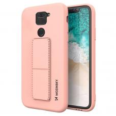 Wozinsky Kickstand Lankstaus Silikono Dėklas Su Stovu Xiaomi Redmi 10X 4G / Xiaomi Redmi Note 9 Rožinis