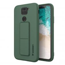 Wozinsky Kickstand Lankstaus Silikono Dėklas Su Stovu Xiaomi Redmi 10X 4G / Xiaomi Redmi Note 9 Tamsiai Žalias