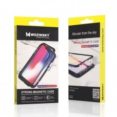 Wozinsky Abipusis Magnetinis Dėklas Su Slankiojančia Kameros Apsauga Huawei P40 Lite / Nova 7I / Nova 6 Se Juodais Kraštais