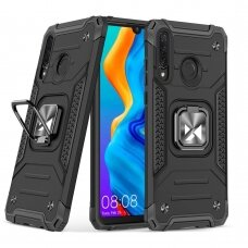 Dėklas Wozinsky Ring Armor Case Kickstand Tough Rugged Huawei P30 Lite Juodas
