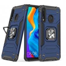 Dėklas Wozinsky Ring Armor Case Kickstand Tough Rugged  Huawei P30 Lite mėlynas