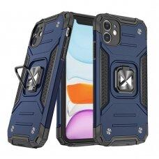 Dėklas Wozinsky Ring Armor Case Kickstand Tough Rugged  iPhone 11 Mėlynas