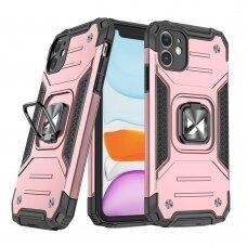 Dėklas Wozinsky Ring Armor Case Kickstand Tough Rugged  iPhone 11 Rožinis