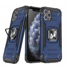 Dėklas Wozinsky Ring Armor Case Kickstand Tough Rugged iPhone 11 Pro mėlynas