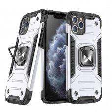 Dėklas Wozinsky Ring Armor Case Kickstand Tough Rugged iPhone 11 Pro Max sidabrinis