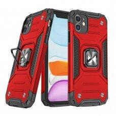 Dėklas Wozinsky Ring Armor Case Kickstand Tough Rugged iPhone 11 Raudonas