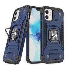 Dėklas Wozinsky Ring Armor Case Kickstand Tough Rugged  iPhone 12 mini mėlynas