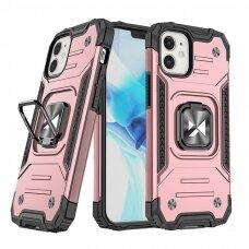 Dėklas Wozinsky Ring Armor Case Kickstand Tough Rugged iPhone 12 mini rožinis