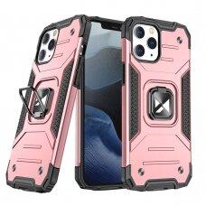 Dėklas Wozinsky Ring Armor Case Kickstand Tough Rugged iPhone 12 Pro / iPhone 12 rožinis